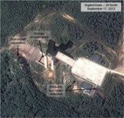 A September satellite image of the North Korean missile launch site at Dongchang-ri. A Nov. 23 image indicates heightened operations at the site, which suggests efforts for another long-range missile launch (AP Photo/DigitalGlobe).