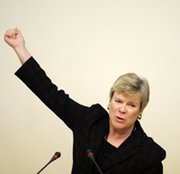 Acting Undersecretary of State for Arms Control and International Security Rose Gottemoeller speaks at an event in Moscow in 2012. Yesterday, the senior State Department official urged Russia to continue talks with NATO on missile-defense issues (Kirill Kudryavstev/AFP/Getty Images).