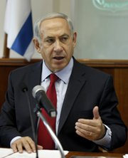 Israeli Prime Minister Benjamin Netanyahu attends a cabinet meeting in Jerusalem last month. The Israeli government in recent days reportedly participated  in a forum with Arab and Iranian officials that focused on reaching agreement on the scope and objectives of future potential negotiations for a regional ban on unconventional weapons (Gali Tibbon/AFP/Getty Images).