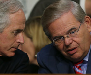 Senate Foreign Relations Committee Ranking Member Bob Corker (R-Tenn.), left, and Chairman Robert Menendez (D-N.J.) are shown in a Sept. 4 file photo. During a hearing of the committee on Thursday, Menendez quizzed a senior Obama administration official about the discrepancy between Syrian and U.S. tallies of chemical-weapons sites in the Middle Eastern nation (Mark Wilson/Getty Images).