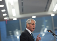 Chuck Hagel, the U.S. defense secretary, addresses security and budget issues at the Center for Strategic and International Studies in Washington on Tuesday (Saul Loeb/AFP/Getty Images).