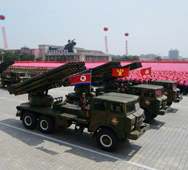 North Korean missile launchers are shown on display in Pyongyang in a July parade. The North appears to have improved the designs for its new road-mobile ICBM, which was first seen at a 2012 parade, technical specialists said this week (Ed Jones/AFP/Getty Images).