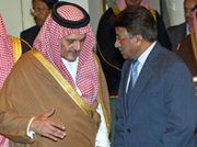 Then-Pakistani President Pervez Musharraf (right) and Saudi Foreign Minister Prince Saud al-Faisal shown in February 2006 after signing a scientific-cooperation accord. The BBC News reports Pakistan is prepared to provide Saudi Arabia with nuclear weapons if asked (Farooq Naeem/AFP/Getty Images).