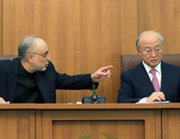 "The head of Iran's Atomic Energy Organization, Ali Akbar Salehi, left, and the director of the International Atomic Energy Agency, Yukiya Amano, on Monday address reporters in Tehran. Iran has announced a preliminary deal with the International Atomic Energy Agency to give ""managed access"" to a uranium mine and a heavy water plant, but inspectors still won't have access to Iran's most controversial nuclear plant (Atta Kenare/AFP/Getty Images)."