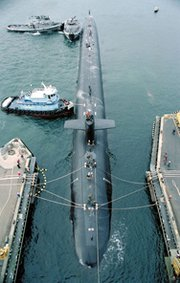 A U.S. Navy Ohio-class submarine capable of firing Trident nuclear-armed ballistic missiles. The Obama administration is protesting a Senate committee-passed measure that would call for cost and feasibility studies on alternative approaches to modernizing Navy and Air Force warheads for ballistic missiles (U.S. Navy file photo).