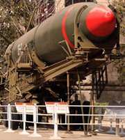 China's Dongfeng-2 ballistic missile on display at a museum in Beijing in 2009. A yearly report to Congress on the security and economic situation with China found that not much had changed since last year in the status of the country's nuclear forces (Stephen Shaver/UPI).