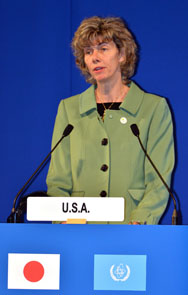 U.S. Nuclear Regulatory Commission Chairwoman Allison Macfarlane delivers a speech at the Fukushima Ministerial Conference in Japan last year. Macfarlane is denying charges from Senator Barbara Boxer (D-Calif.) that the commission is withholding requested information (Yoshikazu Tsuno/AFP/Getty Images).