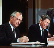 Then-U.S. President Ronald Reagan, right, and Soviet leader Mikhail Gorbatchev, left, as they signed the  Intermediate-Range Nuclear Forces Treaty in Washington in December 1987. The Obama administration last year reportedly informed lawmakers in a classified session that Moscow was violating the pact (AFP/Getty Images).
