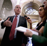 U.S. Senator John McCain (R-Ariz.), shown talking last week to reporters, on Sunday outlined several concerns about a deal reached by Iran and six other governments to address the Middle Eastern nation's disputed nuclear activities (Chip Somodevilla/Getty Images).