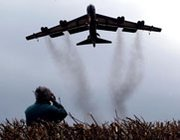 A nuclear-capable U.S. B-52 bomber prepares to land at the Fairford air base in the United Kingdom in March 2002. The United States over a six-month period ending on Sept. 1 made further reductions to its levels of fielded strategic nuclear warheads and delivery systems, the U.S. State Department said on Wednesday (AP Photo/Dave Caulkin).