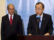 U.N. Secretary-General Ban Ki-moon, right, speaks to journalists on Monday alongside Ahmet Üzümcü, director general of the Organization for the Prohibition of Chemical Weapons. The U.N. chief pressed Syria's embattled Bashar Assad regime to refrain from unleashing the nation's chemical arsenal (U.N. photo).