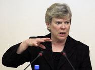 Rose Gottemoeller, acting undersecretary of State for arms control and international security, shown in March. Gottemoeller this week told lawmakers that voluntary international guidelines could help prevent transfers of proliferation-sensitive atomic technologies to two nations negotiating nuclear trade pacts with the United States (AP Photo/Sergey Ponomarev).