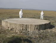 Experts in 2008 stand near a sealed nuclear detonation tunnel at the Semipalatinsk Test Site in Kazakhstan. The former Soviet republic on Monday announced the completion of a years-long multilateral effort to secure dangerous material at the location (AP Photo).