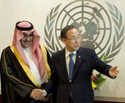 Prince Nawaf Faisal Fahd Abdulaziz of Saudi Arabia on the left meets with U.N. Secretary General Ban Ki-moon in June at U.N. headquarters in New York. On Friday, Saudi Arabia turned down a two-year membership on the Security Council out of frustration with the body's inability to resolve unconventional weapon problems confronting the Middle East (Don Emmert/AFP/Getty Images).