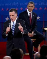 "President Obama, right, and Republican presidential candidate Mitt Romney participate in Tuesday's presidential debate. Decisions the U.S. president is expected to reach on the government's ""nuclear guidance"" would have a years-long impact on the nation's plans for the organization of and strategy for its atomic arsenal, according to experts (AP Photo/Carolyn Kaster)."