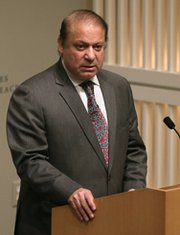 Pakistani Prime Minister Nawaz Sharif on Tuesday speaks at the United States Institute of Peace, where he called for an end to his country's arms race with India (Mark Wilson/Getty Images).
