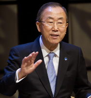U.N. Secretary General Ban Ki-moon on Wednesday speaks at an event in Copenhagen. The U.N. leader said Denmark has offered to support an international effort to dismantle chemical-warfare materials stockpiled by the Syrian government (Nils Meilvang/AFP/Getty Images).