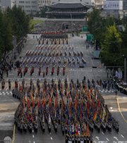 The South Korean military on Oct. 1 conducts a parade. The South is seeking to purchase more than 100 Patriot air-defense missiles and associated technology upgrades from the United States as it seeks to improve its defenses against North Korea (Chung Sung-Jun/Getty Images).