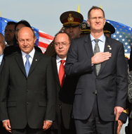 Romanian President Traian Basescu, left, and U.S. Under Secretary of Defense for Policy James Miller on Monday attend the official groundbreaking ceremony for the site of a future U.S. missile-interceptor base that will form an important component of the NATO missile shield. Russia on Monday said it was open to reaching a compromise with NATO on its plans for European ballistic-missile defense (Daniel Mihailescu/Getty Images).