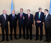 "Senior officials from the ""P-5+1"" nations -- United States, Britain, France, China, Russia and Germany -- and U.N. Secretary General Ban Ki-moon are shown in a Sept. 25 photo in New York. They are, from left, British Foreign Secretary William Hague, French Foreign Minister Laurent Fabius, Russian Foreign Minister Sergei Lavrov, Ban, U.S. Secretary of State John Kerry and Foreign Minister of the People's Republic of China Wang Yi. Nuclear experts from Iran and the six nations wrapped up negotiations in Vienna on Thursday (Spencer Platt/Getty Images)."