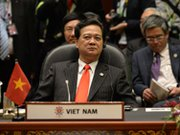 Vietnamese Prime Minister Nguyen Tan Dung attends the 23rd summit of the Association of Southeast Asian Nations in Bandar Seri Begawan, Brunei, on Wednesday. His government could initial a nuclear trade pact with a U.S. delegation visiting Vietnam this week (Philippe Lopez/AFP/Getty Images).