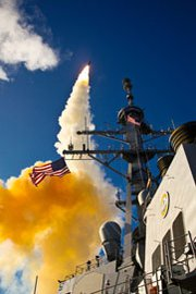 A Standard Missile 3 interceptor is fired from the Aegis-class destroyer USS Hopper during a July 2009 ballistic missile defense test. The United States could derive benefits, including improved relations with Russia, if it abandons a plan to field in Europe next-generation SM-3 interceptors designed to destroy ICBMs, experts said (U.S. Navy photo).