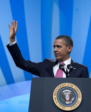 "President Obama, shown in March, is to tell the U.N. General Assembly that the United States will ""do what we must"" to head off a nuclear-armed Iran (AP Photo/Carolyn Kaster)."
