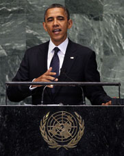 President Obama, speaking to the U.N. General Assembly on Tuesday, said the United States intends to deter rather than contain a potentially nuclear-armed Iran (AP Photo/Richard Drew).