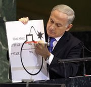 Israeli Prime Minister Benjamin Netanyahu, speaking to the U.N. General Assembly on Thursday, uses an illustrated bomb to depict the point Iran cannot be allowed to cross in its contested nuclear operations (AP Photo/Seth Wenig).
