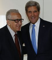 U.S. Secretary of State John Kerry meets on Thursday with the U.N. Special Representative for Syria Lakhdar Brahimi in Geneva, Switzerland. Kerry is there to meet with Russian officials about disarming Syria of its chemical weapons (AP Photo/Larry Downing).