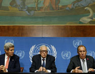 U.S. Secretary of State John Kerry (left) U.N. Special Representative Lakhdar Brahimi  and Russian Foreign Minister Sergei Lavrov (right) address the media in Geneva, Switzerland, on Friday. Kerry and Lavrov said the prospects for resuming the Syria peace process depend on the outcome of their chemical-weapons talks (AP Photo/Larry Downing).