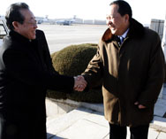 North Korean First Vice Foreign Minister Kim Kye Gwan, left, meets senior North Korean nuclear negotiator Ri Yong Ho in Pyongyang last year. The two diplomats are in Beijing this week for semi-formal multinational talks on the North's nuclear-weapons work (AP Photo).