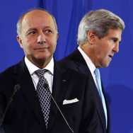 U.S. Secretary of State John Kerry, right, and French Foreign Minister Laurent Fabius address reporters on Monday in Paris after meeting to discuss developments in Syria. The United States and allied nations laid out a plan that calls for enforceable U.N. benchmarks for eradicating Syria's chemical-weapons program and an international conference that bolsters the moderate opposition to President Bashar Assad (AP Photo/Larry Downing).