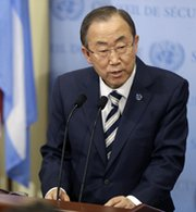 U.N. Secretary General Ban Ki-moon on Monday speaks to reporters at the United Nations. U.N. inspectors concluded that chemical weapons were used on a relatively large scale in a deadly August attack in Syria (AP Photo/Seth Wenig).