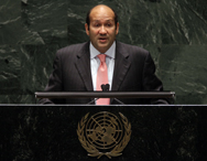 Hisham Badr, now Egypt's assistant minister for multilateral affairs, speaking before the Nuclear Nonproliferation Treaty conference at the United Nations in May 2010. Badr differs with his Israeli counterpart over the way forward for talks on banning weapons of mass destruction from the Middle East (AP Photo/Richard Drew).