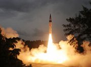 India's nuclear-capable Agni 5 missile is tested Sunday morning. Weapon designers are reportedly now focusing on developing the country's first ICBM, the Agni 6 (Indian Defense Research and Development Organization photo).