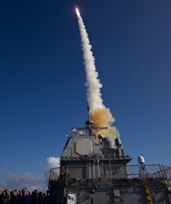 A Standard Missile 3 Block 1B interceptor is launched from the USS Lake Erie in a May test. The technology was successfully tested again on Wednesday agaisnt a complex ballistic missile target over the Pacific Ocean (U.S. Missile Defense Agency photo).