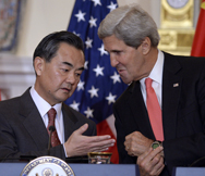 U.S. Secretary of State John Kerry, right, and Chinese Foreign Minster Wang Yi on Thursday meet at the State Department in Washington. Wang said he was confident a new understanding could be reached with the United States on how to re-engage North Korea over its nuclear-weapons work (AP Photo/Susan Walsh).
