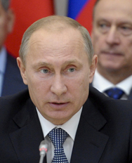 Russian President Vladimir Putin on Monday speaks during a meeting of the Russia-dominated Collective Security Treaty Organization. Moscow said an international task force is poised to re-enter Syria on Wednesday to further examine allegations of chemical-weapons use in the country's civil war. (AP Photo).