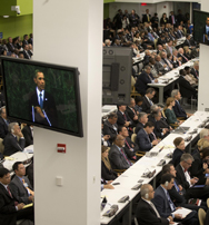 President Obama on Tuesday is shown on television monitors as he addresses the U.N. General Assembly in New York. Obama attempted in his remarks to leave open room for compromise with Iran on a long-running nuclear dispute, analysts said (AP Photo/Pablo Martinez Monsivais).