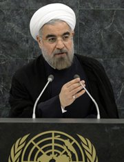 Iranian President Hassan Rouhani on Tuesday addresses the 68th U.N. General Assembly in New York (AP Photo/Brendan McDermid).