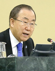 U.N. Secretary General Ban Ki-moon speaks at Thursday's High-level Meeting on Nuclear Disarmament. Expert observers said the event could reveal longstanding tensions between nuclear-weapons states and other countries (U.N. photo).