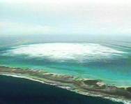 An aerial view of Fangatuafa Atoll in the South Pacific during a 1996 French nuclear test. Countries around the world should move to ratify the Comprehensive Test Ban Treaty even though the United States has yet to finalize its approval of the pact, the U.S. State Department's top arms control official said on Wednesday.