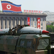 A North Korean missile in parade.