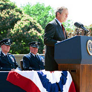 President Bush delivering his address at the National Defense University