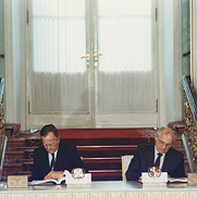 President Bush and President Gorbachev sign the Strategic Arms Reduction Treaty (START) in the Kremlin in Moscow, Soviet Union.