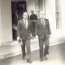 Senator Nunn and Senator Lugar leaving the White House on December 9, 1992, after briefing President George H. W. Bush on the Nunn-Lugar legislation.