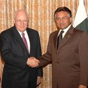 United States Vice President Dick Cheney with Pakistan President Pervez Musharraf in Islamabad, February 2007.