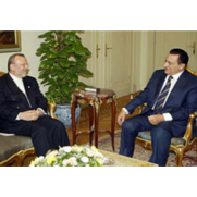 Egyptian President Mubarak and Iranian Foreign Minister Manuchehr Mottaki in August 2006