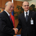 IAEA Director General Amano and Rosatom Director General Kiriyenko sign agreement.